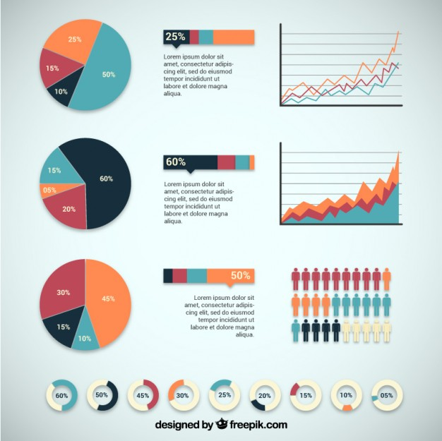 Infographic Design with Charts Free Vector