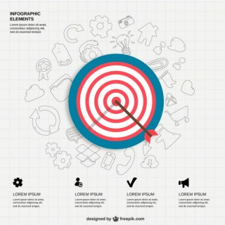 Infographic Icons and Bullseye Free Vector