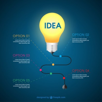 Infographic with a Light Bulb Free Vector