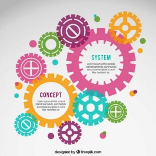 Infographic with Colorful Gears Free Vector