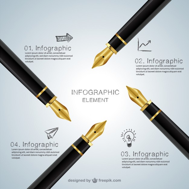 Infographic with Fountains Pen Free Vector