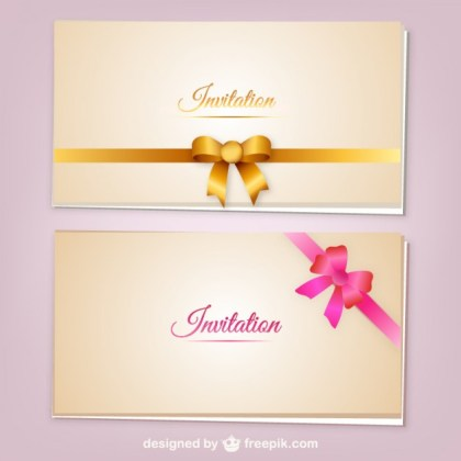 Invitation Cards with Ribbons Free Vector