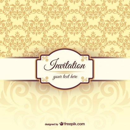 Invitation Template with Damask Pattern Free Vector