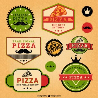 Italian Pizza Retro Style Labels Free Vector