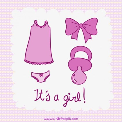 Its a Girl Illustrations Free Vector