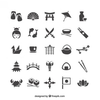 Japanese Icons Collection Free Vector