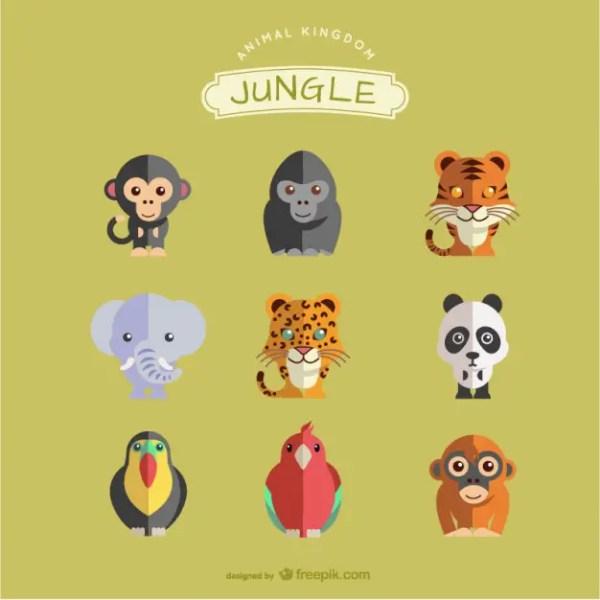 Jungle Animals Set Free Vector