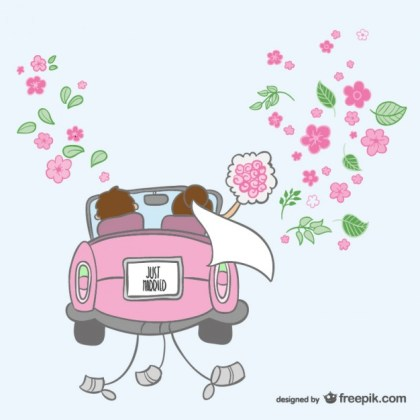 Just Married Cartoon Illustration Free Vector