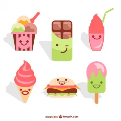 Kawaii Food Set Free Vector
