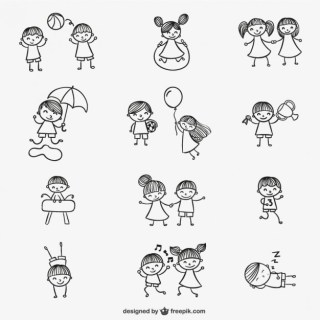 Kids Playing Doodles Free Vector