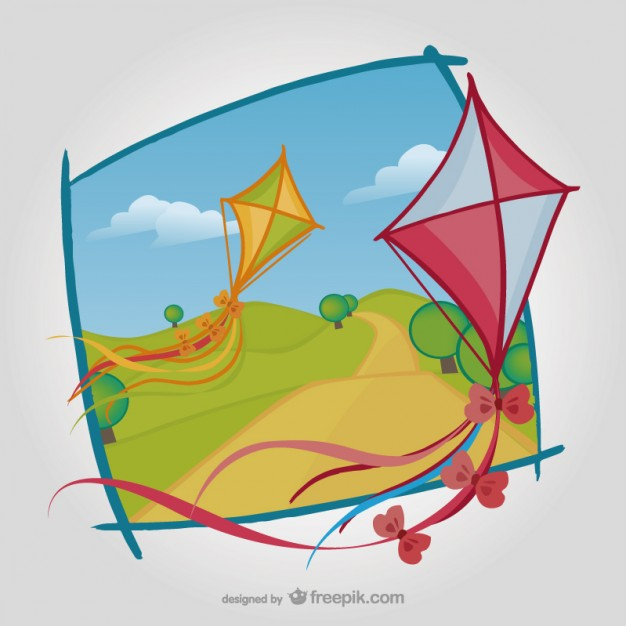 Kites with Natural Landscape Free Vector