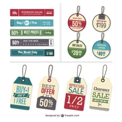 Labels and Tags Set Free Vector