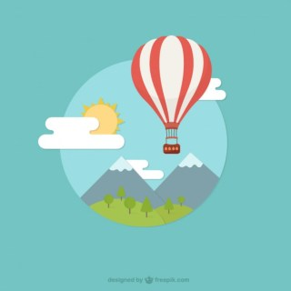 Landscape with Hot Air Balloon Free Vector