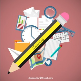 Learning Concept with School Materials Free Vector