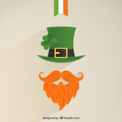 Leprechaun Icon with a Green Hat and Bushy Red Beard Free Vector