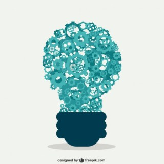 Light Bulb with Gears Working Free Vector