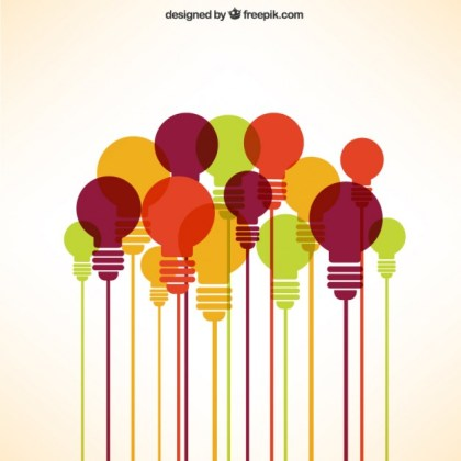 Lights Bulbs Collection in Different Colors Free Vector