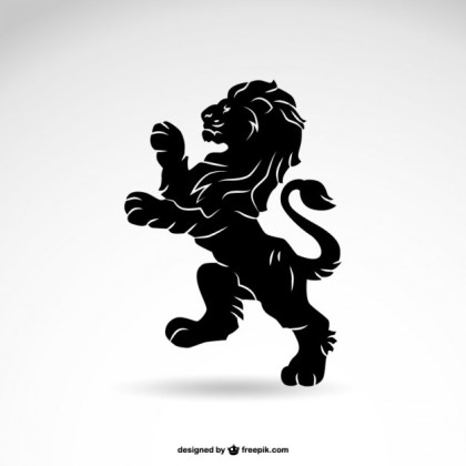 Lion Heraldry Silhouette Free Vector