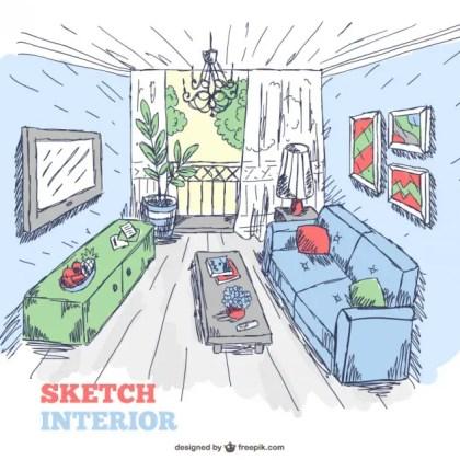 Living Room Sketch Interior Doodle Free Vector