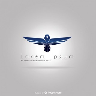 Logo Template with Blue Eagle Free Vector