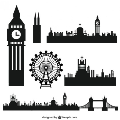 London City Silhouettes Free Vector