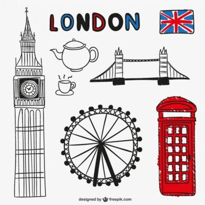 London Objects and Landmarks Free Vector