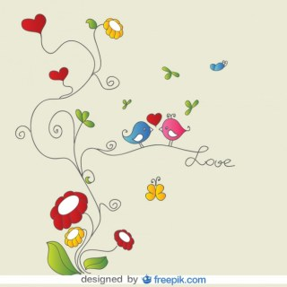 Love Birds on Floral Ornaments Card Free Vector