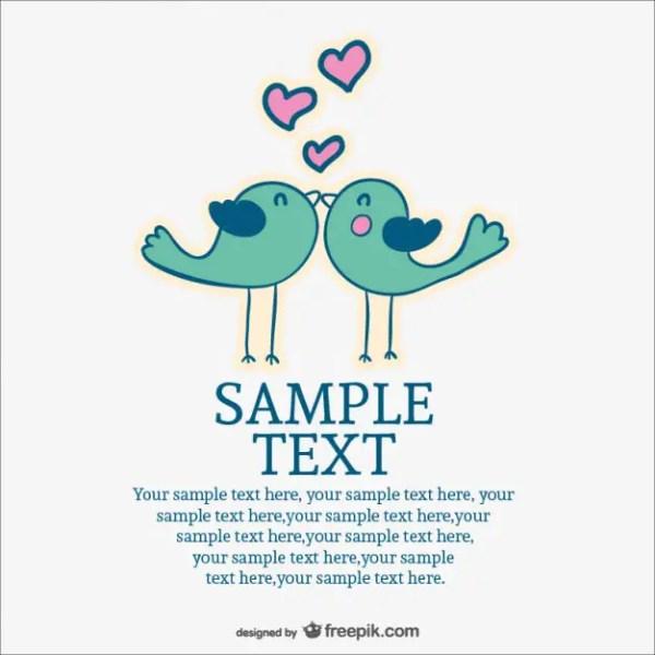 Love Birds Wedding Invitation Free Vector