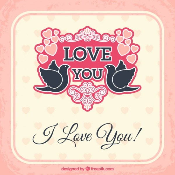 Love Card with Cute Birds Free Vector
