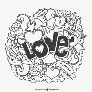 Love Cloud with Ornaments Free Vector