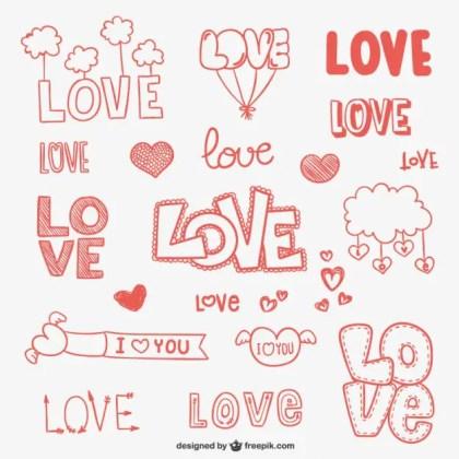 Love Doodle Ornaments Free Vector