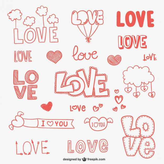 Love Doodle Ornaments Free Vector