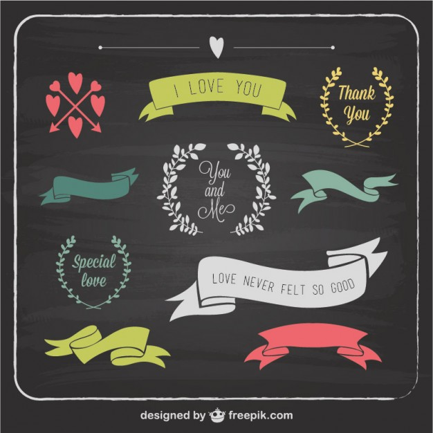 Love Graphic Elements Blackboard Template Free Vector