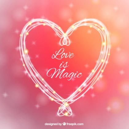 Love Is Magic Greeting Card Free Vector
