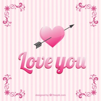 Love You Card with Pink Strippes Free Vector