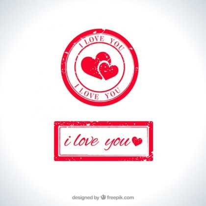 Love You Stamp Free Vector