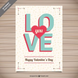 Love You Valentine Card Free Vector