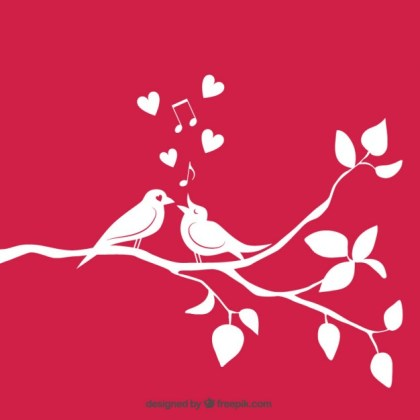 Loving Birds on Branch Free Vector