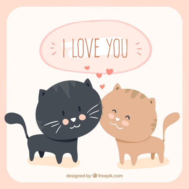 Loving Cats Cartoon Free Vector