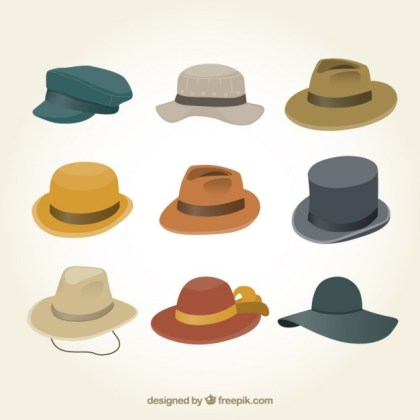 Male Hats Collection Free Vector