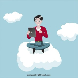 Man with Tablet on Cloud Free Vector