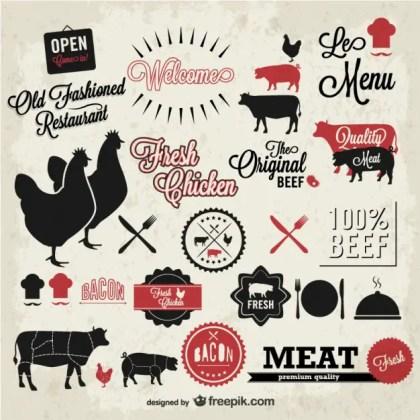Meat Vintage Symbols Set Free Vector