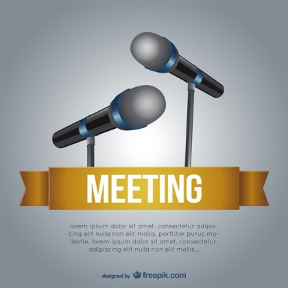 Meeting Template with Microphones Free Vector