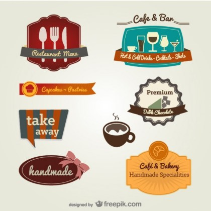 Menu The Restaurant Label Template Material Free Vector