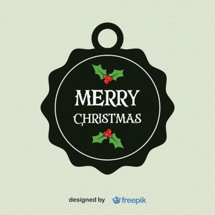 Merry Christmas, Circular Label with Holly Leaves in The Bottom and Upper Free Vector