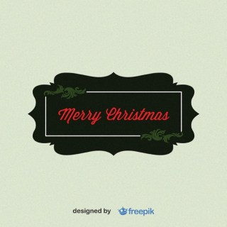 Merry Christmas, Rectangular Label Free Vector