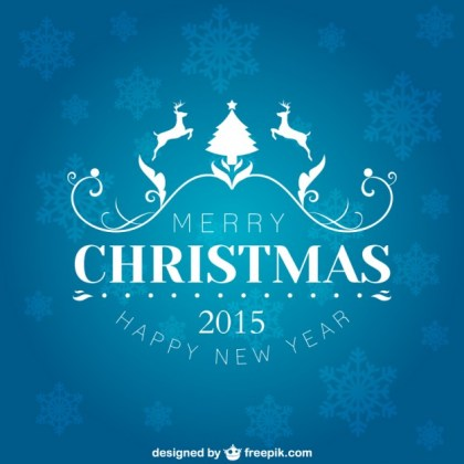 Merry Christmas & Happy New Year 2015 Free Vector