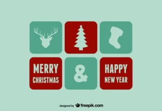 Merry Christmas & Happy New Year Icons and Stamps Free Vector