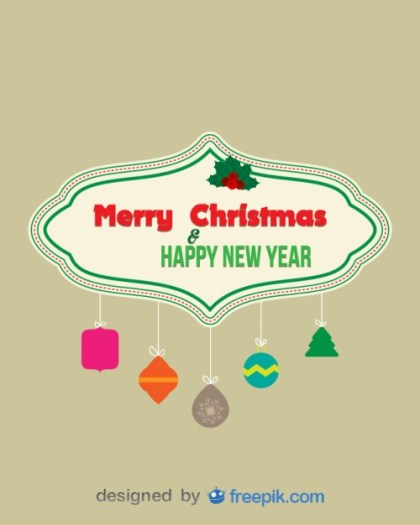 Merry Christmas and Happy New Year Banner with Decorative Objects Suspended From Ropes Free Vector