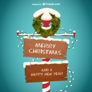 Merry Christmas and Happy New Year Wooden Sign Free Vector